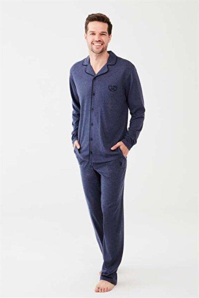 Boydan Düğmeli Lacivert Erkek Pijama Takım