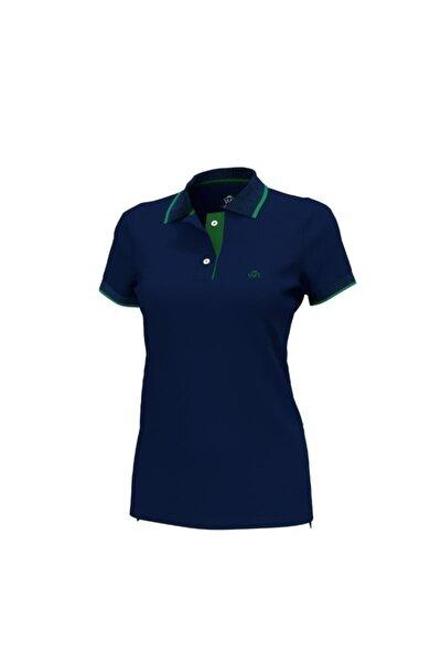 Polo Yaka Çizgili Pamuklu Kadın T-shirt