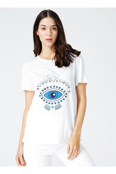 Kadın Baskılı Bisiklet Yaka Beyaz Tişört