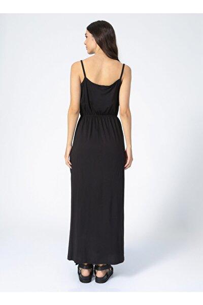 U Yaka Düz Siyah Kadın Elbise