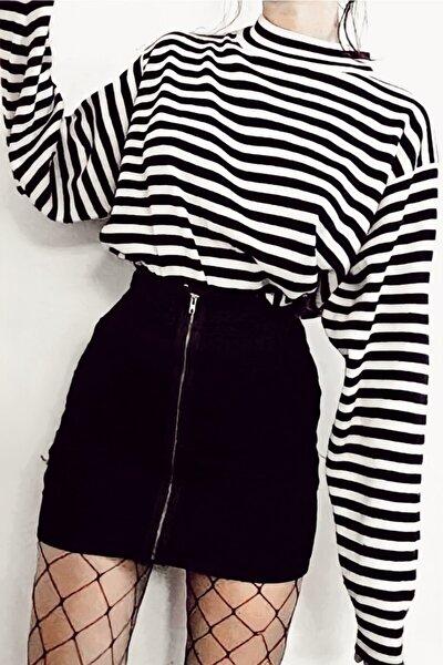 Çizgili Boğazlı Body Sweatshirt Siyah