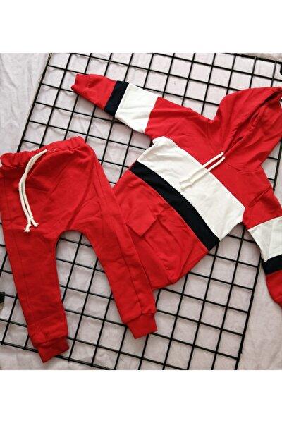 Erkek Bebek Kırmızı Kapşonlu Çizgili Takım