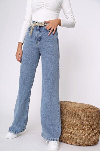 Kadın Mavi Kar Yıkamalı Salaş Süper Yüksek Bel Jean Likralı Geniş Paça Kot Pantolon (süper Yüksek)