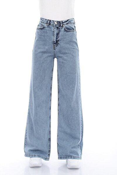 Kadın Mavi Kar Yıkamalı Salaş Likralı Süper Yüksek Bel Geniş Paça Jean (SÜPER YÜKSEK)