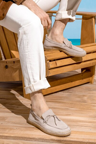 Erkek Bej Süet Loafer Ayakkabı