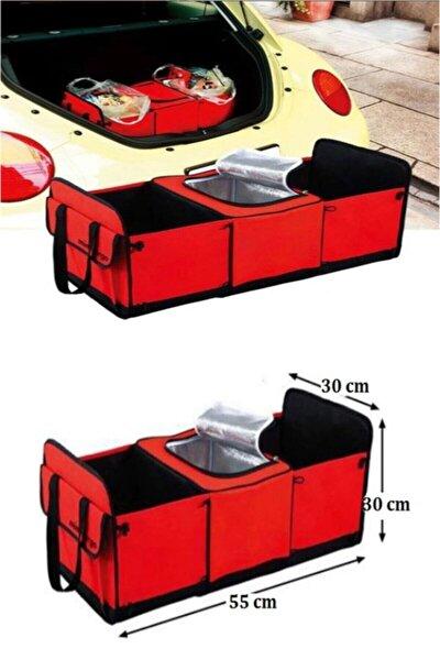 Araç Içi Bagaj Eşya Düzenleyici 3 Gözlü Sıcak Soğuk Bölmeli Termal Gıda Eşya Çanta