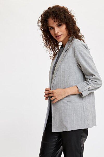 Kadın Gri Katlamalı Kol Blazer Ceket N5050AZ.20SP.GR138
