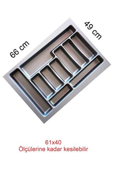 Gri Renk Çekmece Içi Düzenleyici Kaşıklık T-2266 / 66x49 Cm