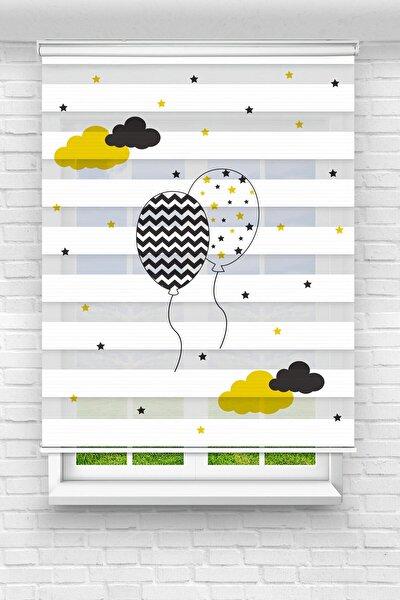 Brillant Bulutlar Ve Balonlar Baskılı Bebek - Çocuk Odası Zebra Perde