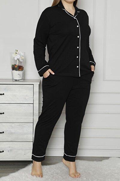Siyah Kadın Pijama Takımı Düğmeli Uzun Kollu Büyük Beden Cepli
