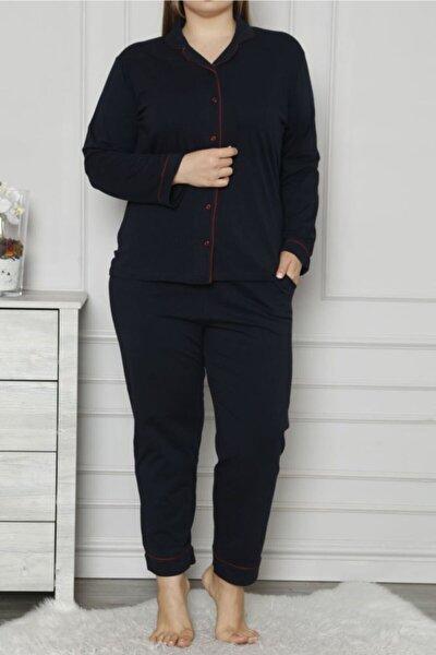 Lacivert Kadın Pijama Takımı Düğmeli Uzun Kollu Büyük Beden Cepli