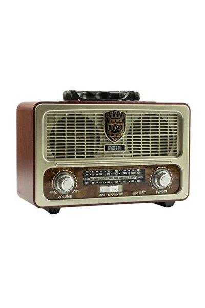 M-111bt Nostaljik Ahşap Retro Fm Radyo Usb Sd Bluetooth Fm