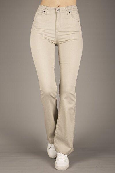 Kadın Bej Yüksek Bel Ispanyol Paça Pantolon