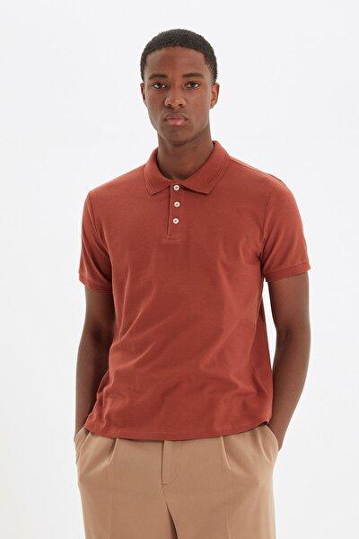 Kiremit Erkek Slim Fit Polo Yaka Kısa Kollu Polo Yaka T-shirt TMNSS20PO0009