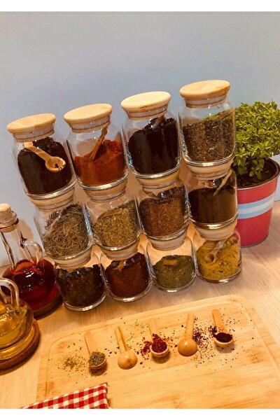 Etiketli Bambu Kapaklı 300 ml 12 Adet Kavanoz Ve 12 Adet Mini Baharat Kaşığı - 24 Parça Baharat Seti
