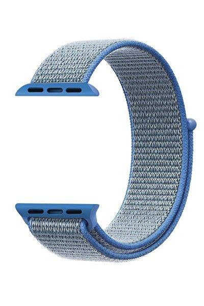 Apple Watch Dokuma Kordon Kayış 7 - 6 - Se - 5 - 4 - 3 - 2 - 1 42mm 44mm - Mavi Siyah