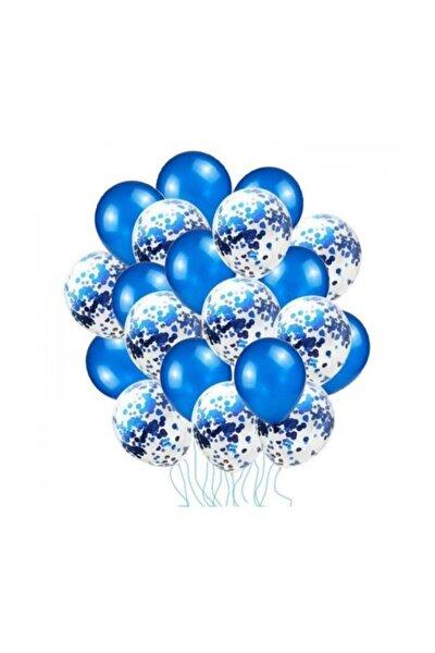 Mavi Konfetili Balon Seti - 20 Adet