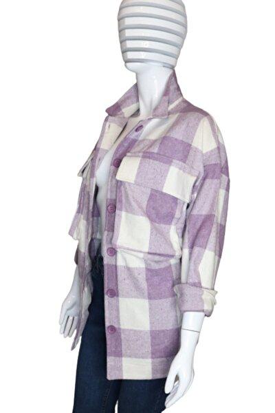 Kadın Oversize Ekose Ceket Gömlek