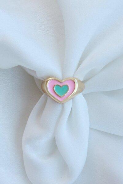 Pembe Mavi Ayarlamalı Mineli Iç Içe Kalp Yüzük