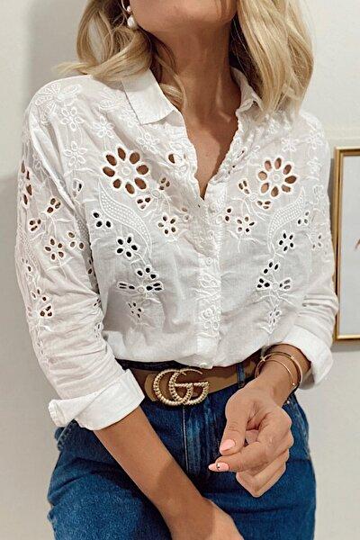 Kadın Beyaz %100 Pamuk Ince Fisto Gömlek