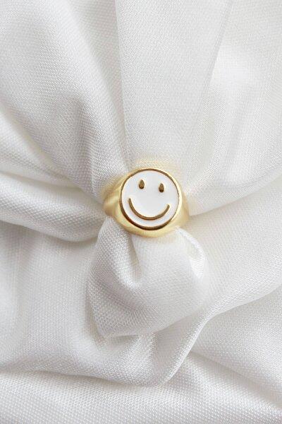 Smile Beyaz Mineli Ayarlanabilir Gold Yüzük