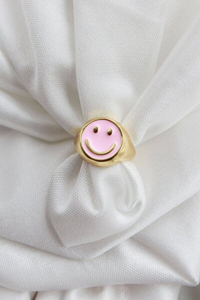 Smile Pembe Mineli Ayarlanabilir Yüzük Gold Renk