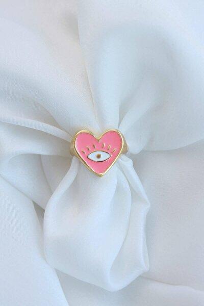 Mineli Göz Detaylı Somon Rengi Ayarlamalı Kalp Yüzük