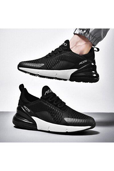 Unisex Günlük Yürüyüş Sneaker Siyah  Beyaz Air File Spor Ayakkabı