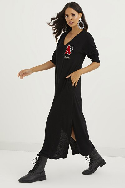 Kadın Siyah Çift Yırtmaçlı Örme Maxi Elbise BK2000
