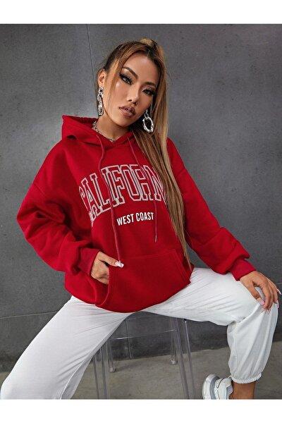 Kadın Kırmızı Calıfornıa Basklı Sweatshirt