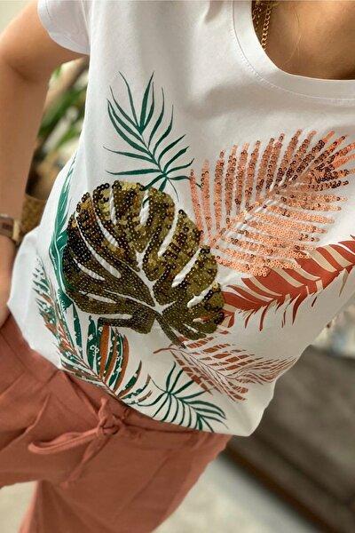 Kadın Beyaz Yaprak Desen Pul Işlemeli Pamuk Tişört