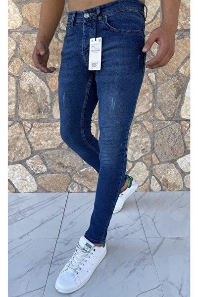 Erkek Jeans Skinny Fit Likralı Mavi Tırnaklı