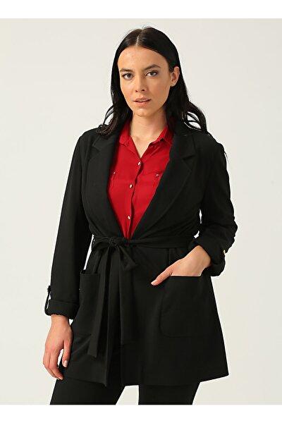 Kadın Siyah Beli Kuşaklı Torba Cep Ceket 20k.ekl.ckt.06061.1