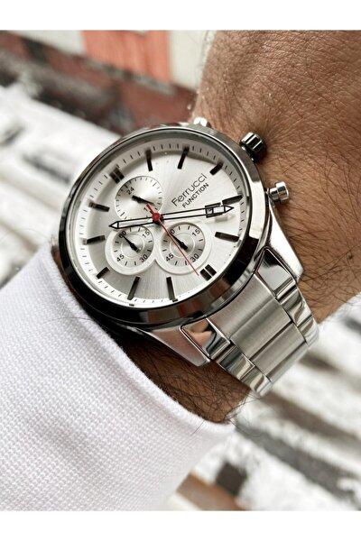 Gümüş Renk Beyaz Kadran Fonksiyonlar Aktif Erkek Kol Saati + Doğaltaş Bileklik