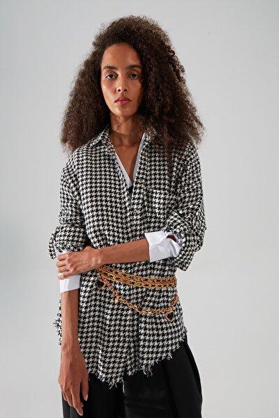 Siyah Kazayağı Ceket Gömlek TWOAW20GO0159
