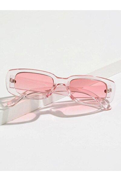 Chunky Frame Vintage Şeffaf Pembe Güneş Gözlüğü