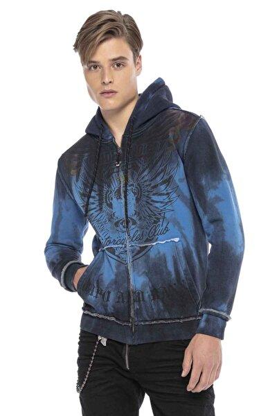 Cl404 Biker Cross Mavi Kapşonlu Sweatshirt