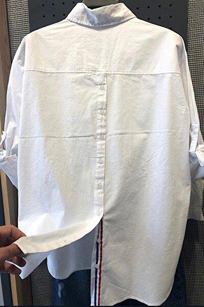 Kadın Sırtı Düğmeli Önü Çift Cepli Pamuk Gömlek