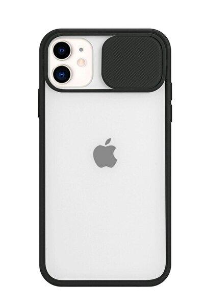 Iphone 11 Uyumlu Sürgülü Kamera Korumalı Darbe Önleyici Şeffaf Mat Silikon Telefon Kılıfı