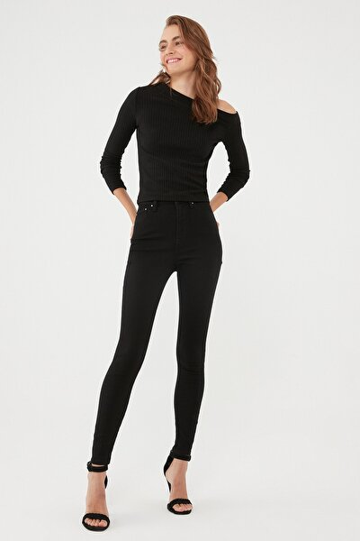 Kadın Serenay Siyah Gold Shape Jean Pantolon 100980-35248
