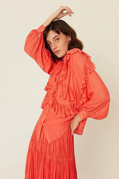 Narçiçeği Çapraz Fırfır Detaylı Transparan Gömlek