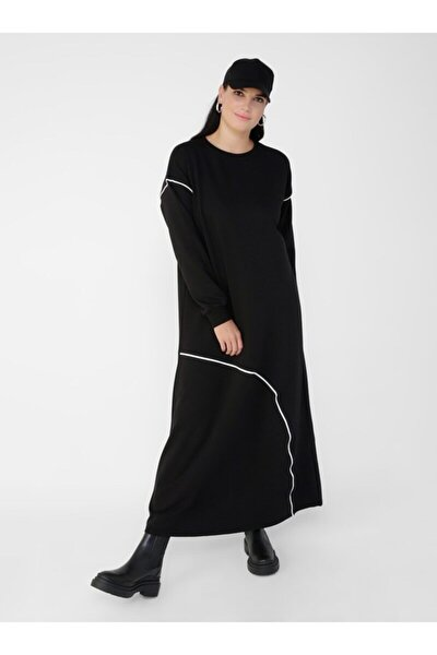 Büyük Beden Biye Detaylı Elbise - Siyah Beyaz -
