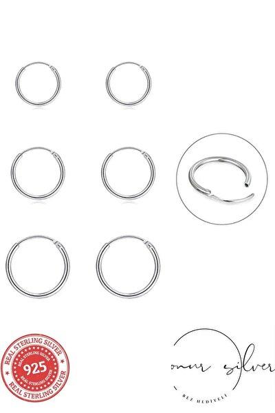 925 Ayar Saf Gümüş Halka Küpe Seti 3'lü Hoop Earing Complete 12-14-16 Mm