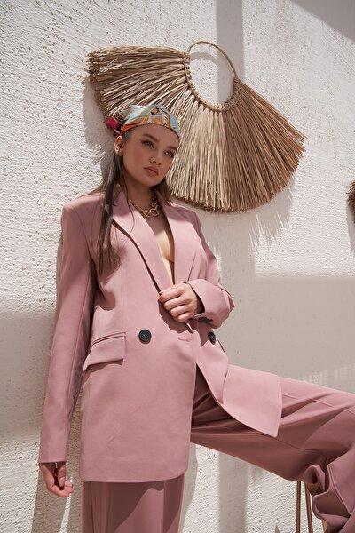 Kadın Pudra Iki Düğmeli Blazer Ceket 0993-2112