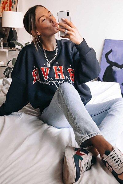 Kadın Mad Girls Lacivert Nakışlı Sweatshirt Mg813