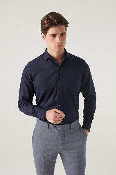 Slim Fit Lacivert Renk Erkek Gömlek