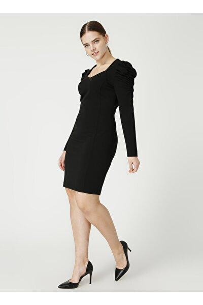 21k.ekl.elb.04037.1 Uzun Kol Orta Düz Siyah Elbise