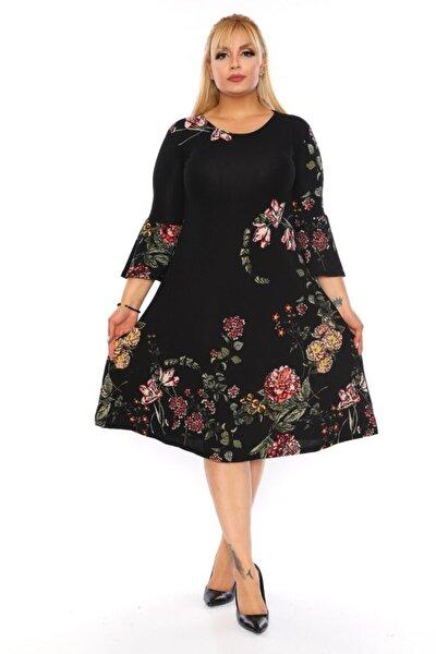 Kadın Siyah Büyük Beden Çiçekli Elbise