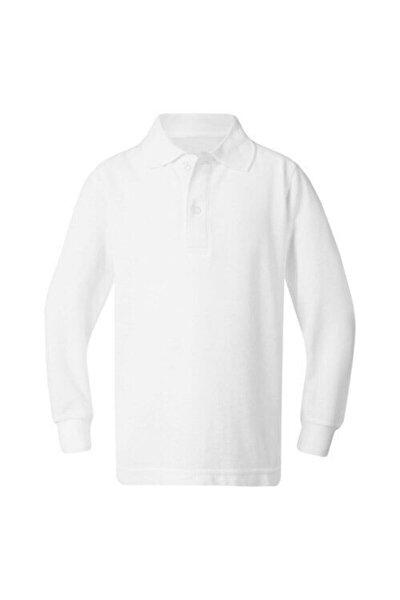 Unısex Penye Polo Yaka Uzun Kollu Beyaz Tişört Çocuk/yetişkin
