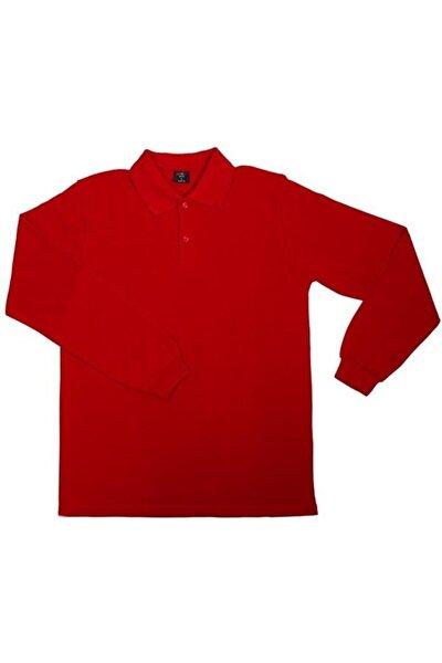 Unısex Penye Polo Yaka Uzun Kollu Kırmızı Tişört Çocuk/yetişkin